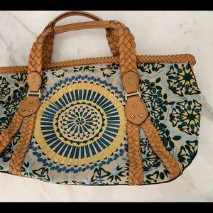 Cole Han Multi colored w/leather details handbag